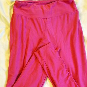LulaRoe Leggings OS (One Size) Solid Dark Pink